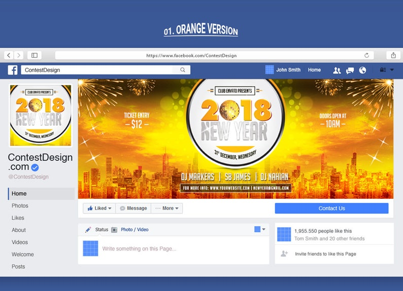 2018 Happy New Year Facebook Cover | Event Venue Facebook Cover Design  Template | 5 Color Variations | Instant Download