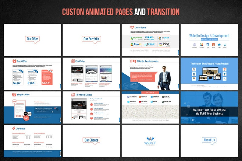 Web Design & Development Project Proposal PowerPoint Presentation Template    PowerPoint Design   PPT, PPTX   Instant Download   Digital File
