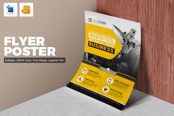 Flyer Template For Web Design And Development Agency Etsy
