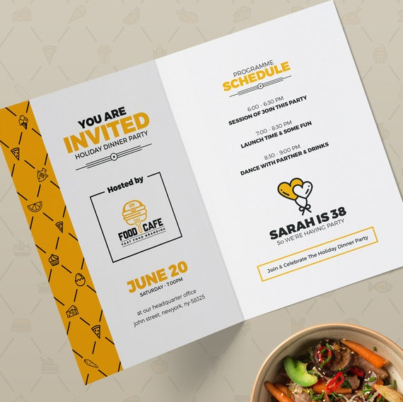 Corporate Invitation Card Design Template Double Side Editable Elements