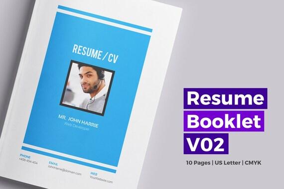 Resume booklet template modern resume template cv etsy image 0 maxwellsz