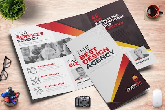 Creative Tri-Fold Brochure InDesign Template | 04 Color Variation | Digital  File | Instant Download