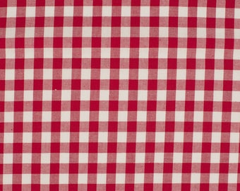 Gingham Red 5mm 100% cotton
