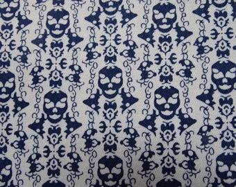 Fabric jeans printed skull sold by half meter