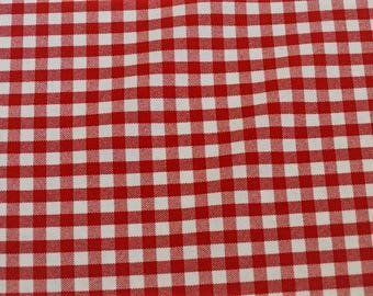 Gingham Red 5mm 100% polyester