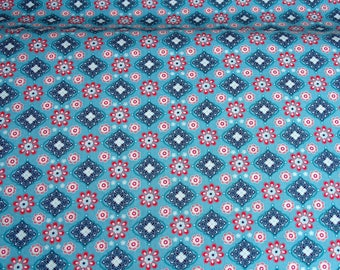 Cotton fabric geometric patterns in blue and pink