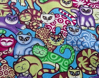 "Cotton fabric printed patterns ""cats"""