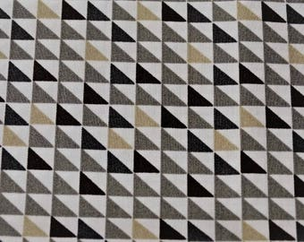 Geometric triangle white and beige motif cotton fabric