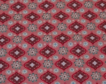 Pink geometric print cotton fabric
