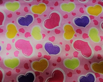 Satin fabric printed heart patterns for Carnival dress sold by the yard