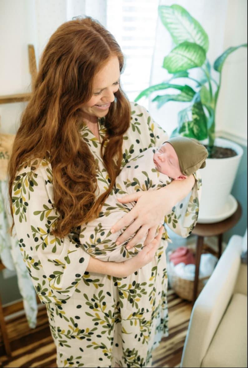 Green Mommy Robe Swaddle Blanket  Olive Branch Robe Olive Mommy Robe Mommy and Me Set Organic Cotton Baby Swaddle Blanket