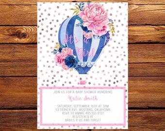 Hot Air Balloon Baby Shower Invitation, Balloon Baby Invite, Baby Girl Invitation, Shower invitation