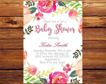 Pink Floral Baby Shower Invitation, Pink Baby Shower Invitation, Pink Flower Baby Shower Invite, Flower Baby Invite