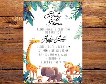 Jungle Baby Shower Invitation, Boy Baby Shower Invite, Safari Baby Shower Invite, Baby Shower Invitation Boy