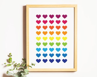 Colourful Heart Shapes - Wall Decor - Digital Art Printable - Instant Download