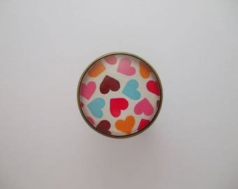 "Ring ""Multicolored hearts"" cabochon jewel red orange blue Brown Pink White Pearl"