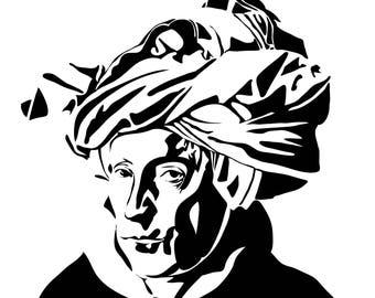 Jan Van Eyck Print, Self Portrait, 1433, Wall Art Prints, Art Print, Minimalist Print, Digital Print, Black & White, Jan Van Eyck Poster