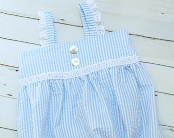 Blue Seersucker Bubble Romper size 2T - ADORABLE lace accents, Mother of Pearl buttons, and comfy elastic back