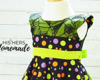 Size 2T Halloween Dress with spider web overlay bodice, sash, and full circle skirt in Spooky Dots