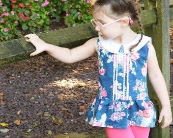 Blue Floral Peter Pan white collar drop waist peplum top size 4T