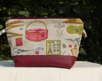 """Kit has everything, fabric and faux Burgundy leather, pattern """"Sewing"""" lined zipper"""