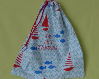 """child's toy, the sea motif, embroidered bag """"treasure""""sliding link red handbag Red"""