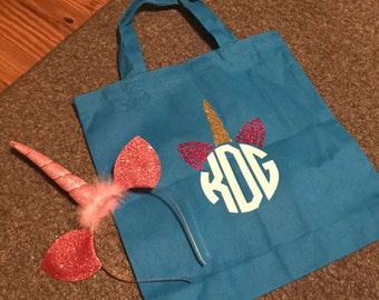 Monogrammed unicorn tote bag