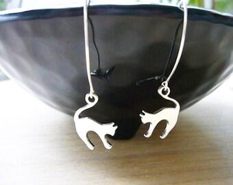 Silver Cat Earrings, Cat Earrings, Cat Jewelry, Long Dangle Earrings, Cat Lover Gift, Cute Kitty Earrings, Sterling Silver, Animal Lover