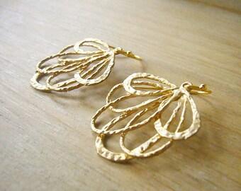 Gold Lace Earrings, Gold Filigree Earrings, Chic Bohemian Earrings, Matte Gold Earrings, Bridesmaid Gift, Gold Wedding Earrings