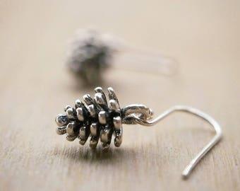 Pine Cone Earrings, Silver Pinecone Earrings, Silver Woodland Earrings, Minimal Earrings, Autumn Jewelry, Fall Jewelry, Bridesmaid Gift