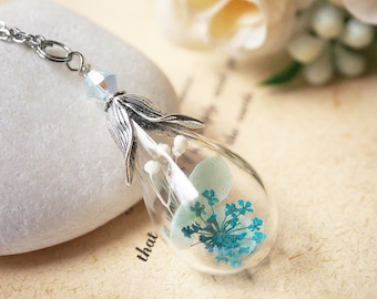 Flower Terrarium Necklace, Real Flower Necklace, Blue Flower Necklace, Nature Necklace,  Girlfriend Gift, Forest Jewelry, Botanical Necklace