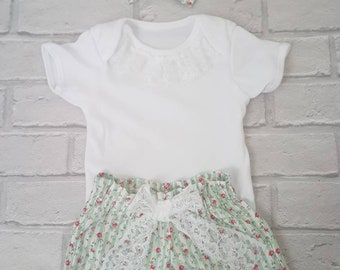 Bloomers, vest and bow with lace.... or skirt/shorts/knicker bloomers