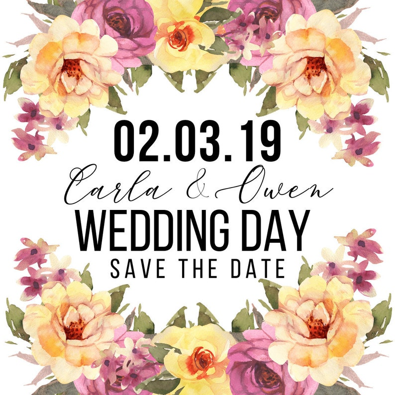 Wedding Save The Date Invite  Save The Date Template  Engagement Template  Wedding Invite Template  Floral Wedding Invite