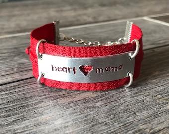Personalized Zipper Heart Mama Bracelet - CHD Awareness