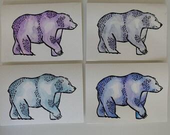 Grizzly Bear Linocut Card