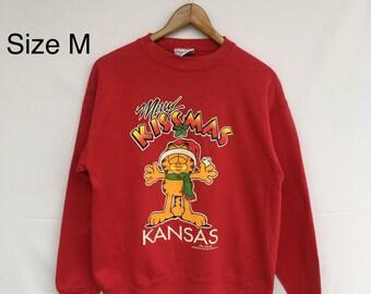 Rare! Velva Sheen MERRY KISSMAS KANSAS Christmas sweatshirt woman/man clothing . Adult medium