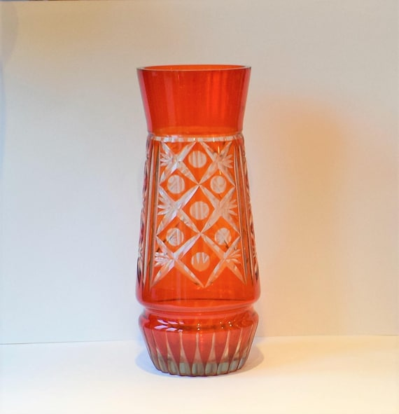 Large Orange Cut To Clear Vase Cut Glass Vase Bohemian Glass Etsy
