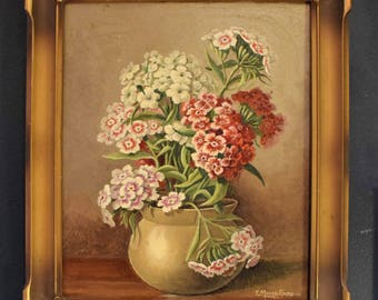 RESERVED***, E Moore-Sadd, Canadian art, vintage oil painting, still life, floral painting, original art.