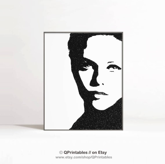 Dessin Visage Noir Et Blanc belle femme visage affiche de visage de femme noir blanc | etsy