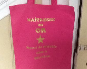 "Tote bag ""maOgresse gold"" centerpiece gift"