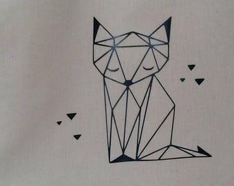 Tote cotton bag natural geometric Fox