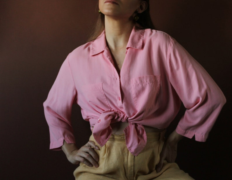 9ac6223c7af82 Blush Pink 100% Silk button down blouse vintage 90s minimal