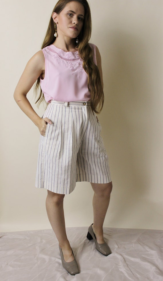 Vintage white pin striped high waisted linen bermu