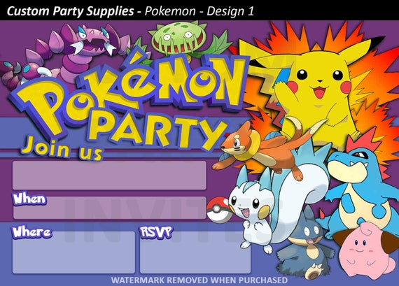 Pokemon Birthday Party Invitation Invite Personalised