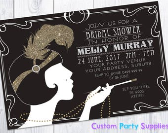 1920s Gatsby Bridal Shower Hens Birthday Party Invitation Invite Personalised Personalized 1920