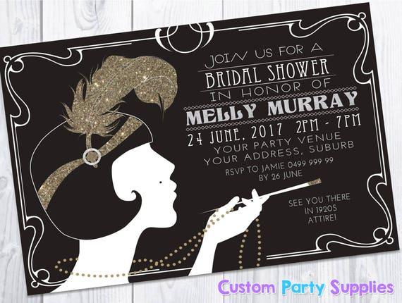 1920s Gatsby Bridal Shower Hens Birthday Party Invitation Etsy