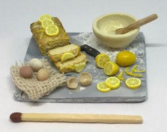 Handmade twelfth scale dolls house lemon cake marble preparation board