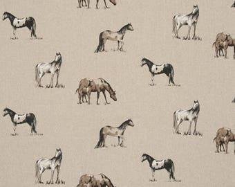 English Clarke and Clarke horse linen fabric