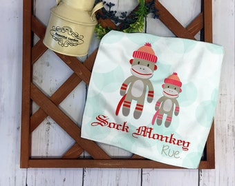 BUY 3 GET 1 FREE** Personalized Kids Hand Towel - Sock Monkey Hand Towel, personalized with your name, Kids Personalized Gift -016_HTG