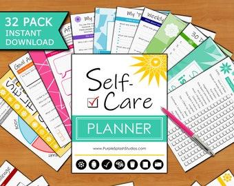 Self-Care Printable Planner: 32p Workbook Journal (Self-Love, Self Help, Mindset, Health, Affirmations, Gratitude, Quotes, 30 Day Challenge)